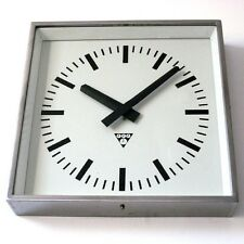 Vintage Industrial Wall Clock. Made by Pragotron (former Czechoslovakia). Metal
