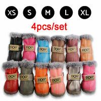 4pcs/set Waterproof Pet Shoes Winter Dog Cat Snow Boot Anti-Slip Warm Puppy Boot