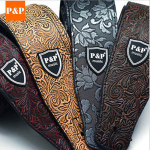 Guitar Strap PU Leather Basses adjustable Acoustic Electric Classic Luxury Soft