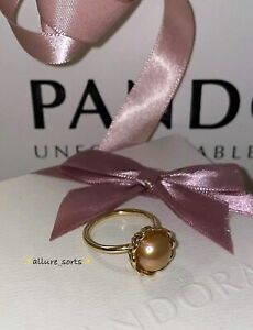 *NEW Genuine Pandora Solid 14K Golden Mabe Cultured Pearl Lace Ring 58 150167PGO