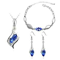 Blue And Silver Cubic Zirconia Crystal Necklace Bracelet And Earrings Set UK