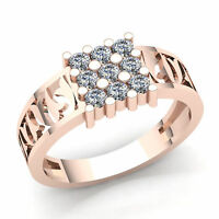 Natural 0.25carat Round Cut Diamond Cluster Mens Ring Solid 14K Gold