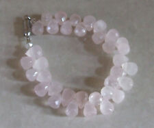 Beautiful Fine Natural Pear Shaped Rose Quarts Gem  Stone Magneric Snap Bracelet