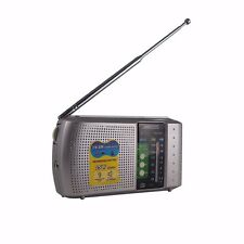 NEW--Axess PR3206 SIlver Portable/Rechargeable AM/FM Radio Receiver USB/TF Slot
