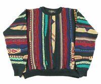 VTG 90s Protege Coogi Style Crewneck Sweater Mens L Biggie Cosby Multicolor