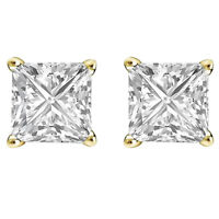 2Ct Diamond Stud Earrings Princess Solitaire Earrings 14K Gold Silver