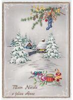 lucida cartolina vintage paesaggio innevato decorazioni Natale calza giocattoli
