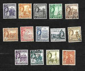 Malta, 1956 QEII pictorials, complete set to 2/6d used (M402)
