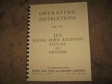Manual.D-S Radial Form Relieving Fixture,10 Pages, Grinder ,Tool Maker,Mint