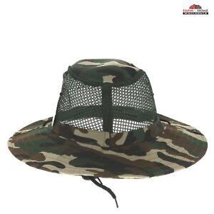 Camo Mesh Bucket Hat Cap Fishing Camping ~ New