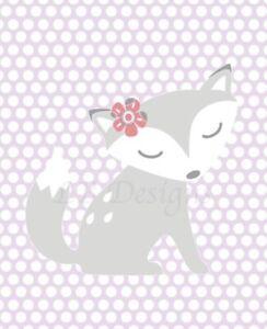Girl Fox Nursery Print, Girl Woodland Nursery Decor, Lavender Woods Nursery