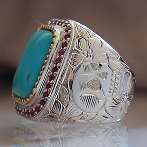 Fashion Men Turquoise Wedding Rings 925 Silver Jewelry Band Gift Size 6-13
