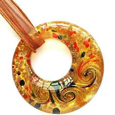 Brown Circle Gold Foiled Lampwork Glass Murano Bead Pendant Ribbon Necklace Cord