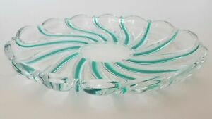 """MIKASA Peppermint Green Oval Crystal Swirled Tray Dish 9 1/2"""" Made In Germany"""