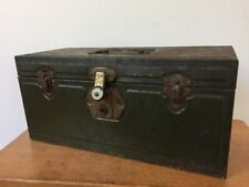 Vintage New Britain None Better Green Metal 2 Deck Fishing Tackle Tool Box