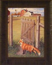 INDIAN SUMMER FOX by Harry Antis 17x21 FRAMED PRINT Red Fox Farm Fence Gate