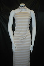 """Rayon Poly Spandex  Jersey 46/46/8 High Quality Fabric Natural/Cream 1"""" Stripes"""