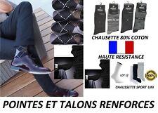 CHAUSSETTE HOMME 24 PAIRES TENNIS JACQUARD RAYE UNI COTON POINTE TALON RENFORCE