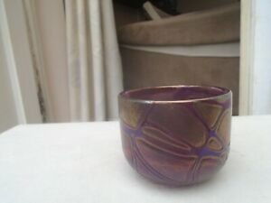 Amazing stylish PHOENICIAN iridescent art glass bowl from Malta  FULLY SIGNED