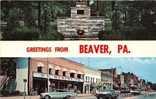 BEAVER PA 1963 Split View Showing WWII Memorial & Main Street Old Cars & Stores