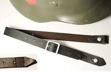 "JUGULAIRE CASQUE ALLEMAND WW2 ""WILHELM EILERS JR.BIELIFELD 1941"" cuir brun"