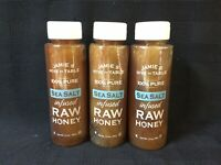 3 Pack Jamie's Hive to Table Raw Honey, 100% PURE, Sea Salt Infused 12oz Jars(L)