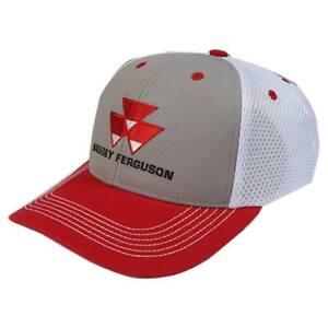 Massey Ferguson Adult Red & White Two-Tone Mesh Back Ball Cap Hat 03437C
