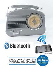 Portable Radio Grey Steepletone Bluetooth Brighton 1950 Retro Style 3 Band FM MW