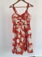 Veronika Maine Size 8 Red White European Fabric Ruched Bust Sleeveless Tea Dress