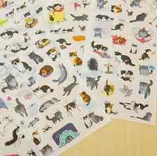 6 pcs/lot cute cat PVC paper sticker diy planner decorative sticker for Kids ca