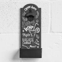 Black Vintage Wall Mounted Bottle Opener and Catcher Beer Cap Bar Novelty Sign