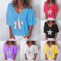 Summer Women's V-Neck T-Shirt Star Print Short Sleeve Casual Blouse Tops S-5XL