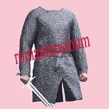Flat Riveted With Flat Washer Chainmail shirt 9 mm Medium  full sleeve BLACK