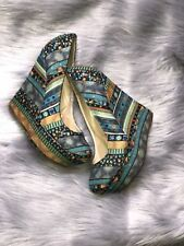 Womens Multicolored Wedge Heels Size 8.5