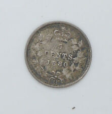 1880 Canadian coin 5 cents F condition