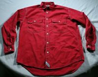 Men's Vintage 90s Levi's Red Denim Button Down Shirt M Levi Strauss Distressed