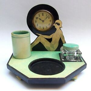 Vintage Art Deco Bakelite Desk Stand With Clock & Glass Inkwell