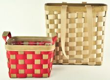 Longaberger Tan To Go Tall Tote Bag w/ Small Red Side Handled Basket Protector