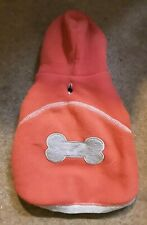 """DOG FLEECE HOIDIE JACKET PINK BONE DESIGN SMALL DOG COAT PINK JACKET 9"""""""