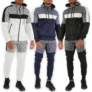 Mens Designer Polyester Aztec Tracksuit Style Slim Fit Joggers Bottom Zip Hoodie