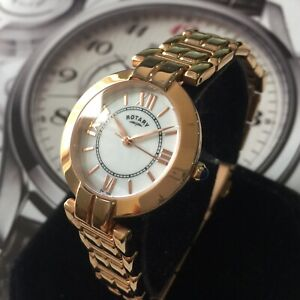 Ladies Rotary dress Rose Gold LB00673/41 Pearl Dial Round Steel Genuine