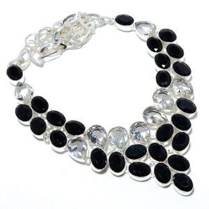 """Black Onyx & White Topaz 925 Sterling Silver Handmade Necklace 17.99"""" M1592"""