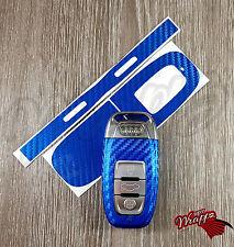 Envoltura de clave de fibra de carbono azul para Audi Control Remoto Inteligente A1 A3 A4 A5 A6 A8 TT Q3 5 Q7
