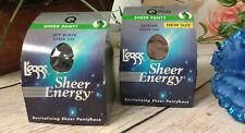 L'EGGS SHEER ENERGY Control Top Pantyhose >Lot of 2 >Q sz + > Off Black & Suntan