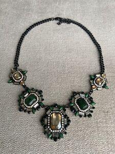 Beautiful New Emerald Green Zara Gems Statement Necklace