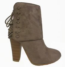 Black Brown Taupe Tan  Lace Up Detail Ankle Boots Booties Shoes