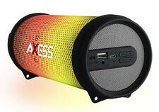 NEW Axess Vibrant Mini SPBL1043 HIFI Bluetooth Speaker w/ Disco LED Lights GREY