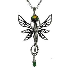 ALCHEMY ABSINTHE GREEN FAIRY GODDESS PENDANT Gothic Pewter Necklace + GIFT BOX