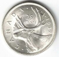 CANADA 1937 25 CENTS QUARTER KING GEORGE VI CANADIAN SILVER COIN HIGH GRADE