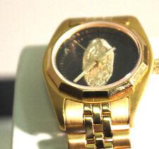 Bulova 92G29 Vantage Virgin Mary Guadalupe Black Dial Gold Tone Case & Bracelet